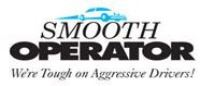 "Smooth Operator logo with a blue car and text that reads, ""We're tough on Agressive Drivers"